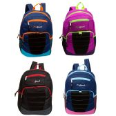 "24 Units of 17"" Loop Bulk Backpacks in 4 Assorted Colors with side Mesh Water Bottle Pockets - Backpacks 17"""