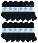 12 Units of Yacht & Smith Kids Cotton Quarter Ankle Socks In Black Size 4-6 - Boys Ankle Sock