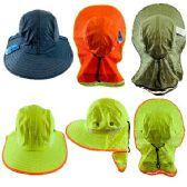 24 Units of Legionnaires Hat [High Visability] Solid Color with Mesh Flap - Sun Hats