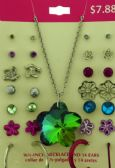 36 Units of Earrings and one necklace with a flower shaped iridescent charm - Necklace Sets