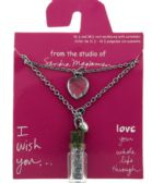 36 Units of Set of two necklaces both have extenders one with a heart shaped charm and the other with a charm of a plastic bottle with glitter inside - Necklace Sets