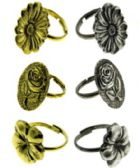 144 Units of Thirty six rings with assorted style of flower designs - Earrings