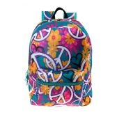 "24 Units of 17"" Kids Classic Padded Backpacks in PEACE Print - Backpacks 17"""
