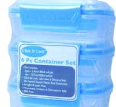 12 Units of 6 Piece Plastic Container With Click And Lock Lids - Food Storage Bags & Containers