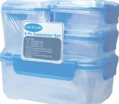 6 Units of 8 Piece Plastic Container With Click And Lock Lids - Food Storage Bags & Containers
