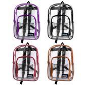 "24 Units of 17"" Kids Clear Backpacks in 6 Assorted Colors - Backpacks 17"""