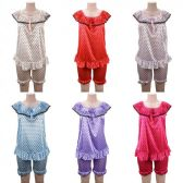 24 Units of Women Pajama Night Gown 2 Piece Heart Print Assorted - Women's Pajamas and Sleepwear