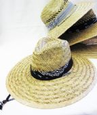 24 Units of Large Brim Straw Sun Hat With Bandanna - Sun Hats