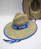 24 Units of Large Brim Straw Sun Hat Blue Trim - Sun Hats
