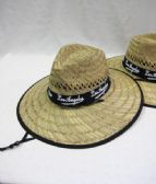 24 Units of Men's Straw Hat with Black Trim - Bucket Hats