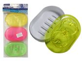 48 Units of 3 Piece Plastic Oval Soap Dish - Soap Dishes & Soap Dispensers