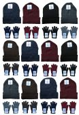 24 Units of Yacht & Smith Mens Warm Winter Hats And Glove Set Solid Assorted Colors 24 Pieces - Winter Care Sets