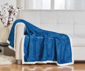 10 Units of BRAIDED 50 X 60 SHERPA THROW IN BLUE - Fleece & Sherpa Blankets