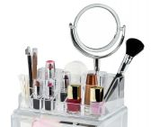 4 Units of Cosmetic Organizer With Vanity Mirror And 2 Drawers - Storage & Organization