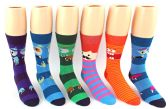 120 Units of Men's Casual Crew Dress Socks - Monster Print - Mens Dress Sock