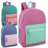24 Units of Urban Sport 17 Inch Girls Color Block Backpack - Backpacks 17""