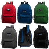 "24 Units of 17"" Classic Premium Backpacks in 5 Solid Colors - Backpacks 17"""