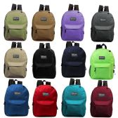 "24 Units of 17"" Kids Basic Backpack in 12 Assorted Colors - Backpacks 17"""