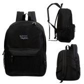 "24 Units of 17"" Classic Black Backpack - Bulk Case of 24 Bookbags - Backpacks 17"""