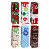 72 Units of 14in Christmas Bottle Bag W/ribbon Handle - Christmas Gift Bags and Boxes