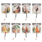 64 Units of Round Hand Fan W/handle & Tassel - Novelty Toys