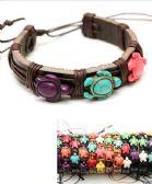 96 Units of Faux Leather Turtle Bracelet - Bracelets