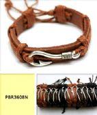 96 Units of Fishing Hook Faux leather Bracelet - Bracelets