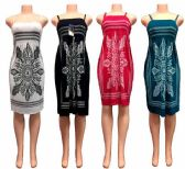 24 Units of Cultural Pattern Spaghetti Strap Summer Dresses - Womens Sundresses & Fashion