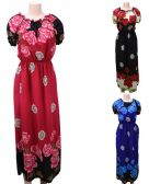 12 Units of Long Dress with Short Sleeve Floral Print Assorted - Womens Sundresses & Fashion
