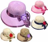 24 Units of Lady Girl Sun Hat with Flower - Sun Hats