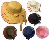 24 Units of Lady Girl Sun Hat Bow Tie at Back - Sun Hats