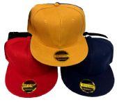 24 Units of Blank Solid Color Snap Back Flat Bill - Baseball Caps & Snap Backs