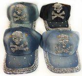 24 Units of Strapback Denim Hat with Skull And Cross Bones Rhinestone - Baseball Caps & Snap Backs