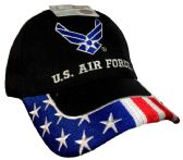12 Units of Licensed US Air Force Hat with USA on Brim Embroideried - Baseball Caps & Snap Backs