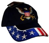 12 Units of License US NAVY Eagle Logo with USA on Brim Hats - Baseball Caps & Snap Backs