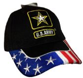 12 Units of US Army with USA on Brim Embroidered Hats - Baseball Caps & Snap Backs