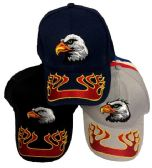 24 Units of Eagle Hat with Flame on the Bill - Baseball Caps & Snap Backs