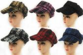 24 Units of Woman Newsboy Hats with Assorted colors - Fedoras, Driver Caps & Visor
