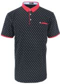 12 Units of MENS COTTON SPANDEX DIAMOND PRINT FITTED POLO SHIRT IN BLACK - Mens T-Shirts