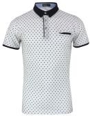 12 Units of MENS COTTON SPANDEX DIAMOND PRINT FITTED POLO SHIRT IN WHITE - Mens T-Shirts