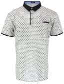 12 Units of MENS COTTON SPANDEX DIAMOND PRINT FITTED POLO SHIRT IN LIGHT GREY - Mens T-Shirts