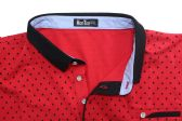 12 Units of MENS COTTON SPANDEX DIAMOND PRINT FITTED POLO SHIRT IN RED - Mens T-Shirts