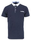 12 Units of MENS COTTON SPANDEX DIAMOND PRINT FITTED POLO SHIRT IN NAVY - Mens T-Shirts