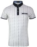 12 Units of MEN'S COTTON SPANDEX ANCHOR PRINT FITTED POLO SHIRT IN WHITE - Mens T-Shirts