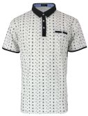 12 Units of MEN'S COTTON SPANDEX ANCHOR PRINT FITTED POLO SHIRT IN LIGHT GREY - Mens T-Shirts