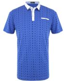 12 Units of MEN'S COTTON SPANDEX ANCHOR PRINT FITTED POLO SHIRT IN ROYAL - Mens T-Shirts