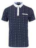 12 Units of MEN'S COTTON SPANDEX ANCHOR PRINT FITTED POLO SHIRT IN NAVY - Mens T-Shirts