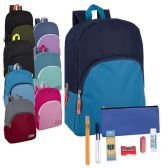 24 Units of Preassembled 15 Inch Backpack & 12 Piece School Supply Kit - 8 Colors - School Supply Kits
