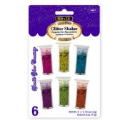 144 Units of BAZIC 3g / 0.10 Oz. 6 Neon Color Glitter Shaker - Craft Glue & Glitter