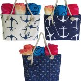 48 Units of Para-Sail Large Fabric Beach Bag Assortment With Rope Handle - Tote Bags & Slings